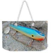 J And J Flop Tail Vintage Saltwater Fishing Lure - Blue Weekender Tote Bag