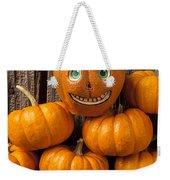 Jack-o-lantern On Stack Of Pumpkins Weekender Tote Bag