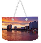 Jacksonville Skyline At Dusk Weekender Tote Bag by Debra and Dave Vanderlaan