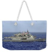 Jds Atago Sails In Formation With U.s Weekender Tote Bag
