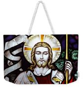Jesus Close Up Stained Glass Weekender Tote Bag