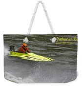 Jetboat In A Race At Grants Pass Boatnik With Text Weekender Tote Bag