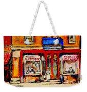 Jewish Montreal Vintage City Scenes De Bullion Street Cobbler Weekender Tote Bag