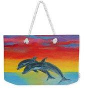 Jumping Dolphins Left Weekender Tote Bag