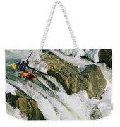 Kayaker At The Top Of A Waterfall Weekender Tote Bag