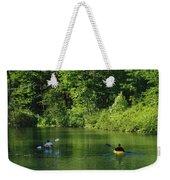 Kayakers Paddle In The Headwaters Weekender Tote Bag