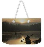Kayakers Paddle Through Still Water Weekender Tote Bag