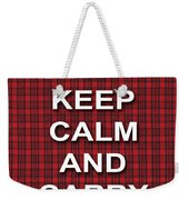 Keep Calm And Carry On Poster Print Red Black Stripes Background Weekender Tote Bag