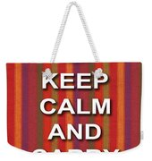 Keep Calm And Carry On Poster Print Red Purple Stripe Background Weekender Tote Bag