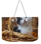 Kitten In Basket With Orange Yarn Weekender Tote Bag