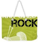 Knit Girls Rock Weekender Tote Bag by Linda Woods