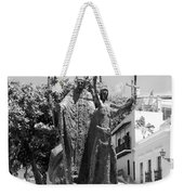 La Rogativa Sculpture Old San Juan Puerto Rico Black And White Weekender Tote Bag by Shawn O'Brien