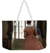 Lady In 19th Century Clothing Looking Out Window Weekender Tote Bag