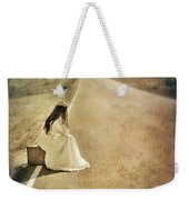 Lady In Gown Sitting By Road On Suitcase Weekender Tote Bag