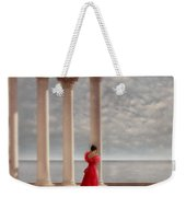 Lady In Red Gown By The Sea Weekender Tote Bag