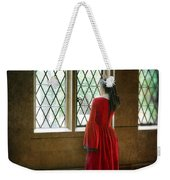 Lady In Tudor Gown Looking Out A Window Weekender Tote Bag