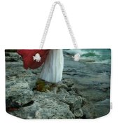 Lady In Vintage Clothing By The Sea Weekender Tote Bag