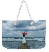 Lady On Dock In Storm Weekender Tote Bag