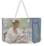 Lady Reading At An Open Window  Weekender Tote Bag