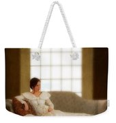 Lady Sitting On Sofa By Window Weekender Tote Bag