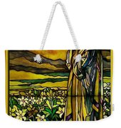 Lady Stained Glass Window Weekender Tote Bag by Thomas Woolworth