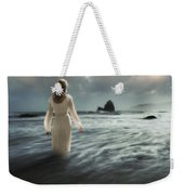 Lady Wading Into The Sea In The Early Morning Weekender Tote Bag