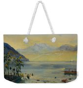 Lake Leman With The Dents Du Midi In The Distance Weekender Tote Bag by John William Inchbold