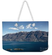 lake with Brissago islands and snow-capped mountain Weekender Tote Bag