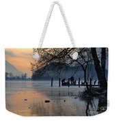 Lake With Ice In Sunset Weekender Tote Bag