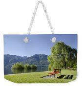 Lakefront With Mountain Weekender Tote Bag