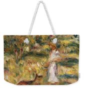 Landscape With A Woman In Blue Weekender Tote Bag by Pierre Auguste Renoir