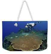 Large Staghorn Coral And Scuba Diver Weekender Tote Bag