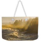 Large Waves Lightbeams Pemaquid Point Maine Weekender Tote Bag