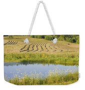 Late Summer Hay Being Harvested In Maine Canvas Poster Print Weekender Tote Bag