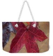 Leaf In Red Weekender Tote Bag