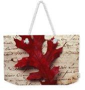 Leaf On Letter Weekender Tote Bag