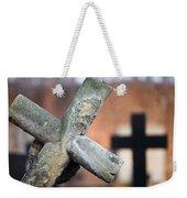 Leaning Cross At Cemetery Weekender Tote Bag