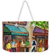 Lester's Deli Montreal Cafe Summer Scene Weekender Tote Bag