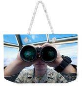 Lieutenant Uses Binoculars To Scan Weekender Tote Bag by Stocktrek Images