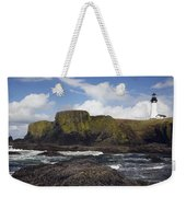 Lighthouse On Coastal Cliff Weekender Tote Bag