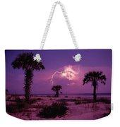 Lightning Illuminates The Purple Sky Weekender Tote Bag