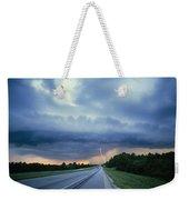 Lightning Over Highway, Bee Line Weekender Tote Bag