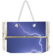 Lightning Strike White Barn Picture Window Frame Photo Art  Weekender Tote Bag