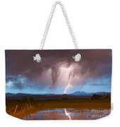 Lightning Striking Longs Peak Foothills 3 Weekender Tote Bag
