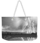 Lightning Striking Longs Peak Foothills 4bw Weekender Tote Bag