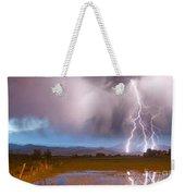 Lightning Striking Longs Peak Foothills 6 Weekender Tote Bag