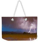 Lightning Striking Longs Peak Foothills 8 Weekender Tote Bag