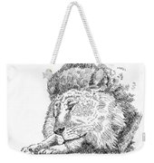 Lion-art-black-white Weekender Tote Bag