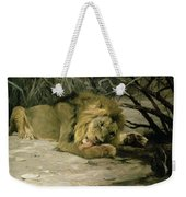 Lion Reclining In A Landscape Weekender Tote Bag
