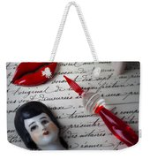 Lips Pen And Old Letter Weekender Tote Bag
